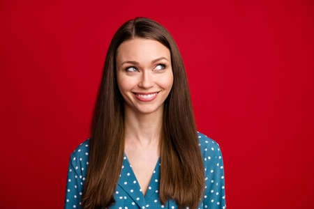 Close-up portrait of pretty curious cheerful brown-haired girl thinking clue isolated bright red color background