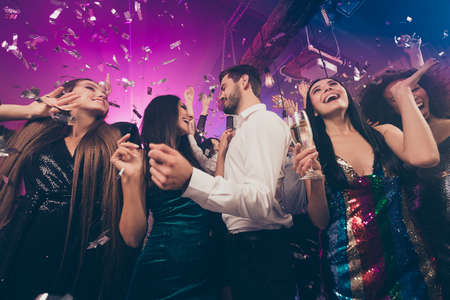 Photo of people group dance rejoice guy flirt with lady wear trendy stylish outfit modern club indoors