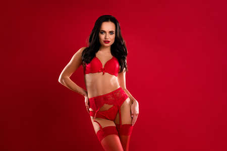 Photo of passionate stunning pretty young woman hold hands hip waist wear lingerie xmas isolated on red color background Banque d'images