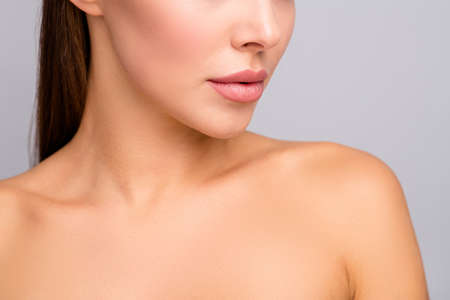 Closeup cropped profile photo of attractive lady nude shoulders plump perfect shape lips after injecting enhancement fillers ideal contour cheek line isolated grey color background