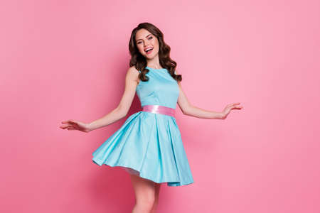 Profile photo of curly charming lady festive clothes event prom party dancing good mood night club skirt flying wear blue teal mini dress isolated pastel pink color background