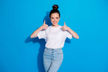 Portrait of her she nice-looking attractive lovely content cheerful cheery glad girl showing two double thumbup cool choice isolated over bright vivid sine vibrant blue color background