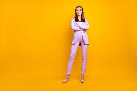Full body photo of stunning business lady hands crossed bossy person meeting customers colleagues wear stylish lilac office costume isolated yellow color background