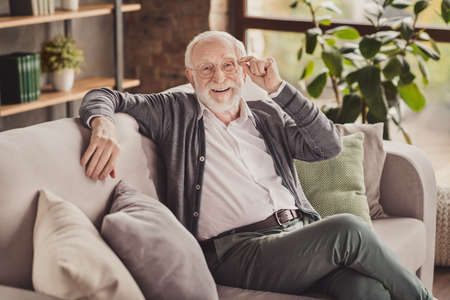 Photo of handsome pensioner wear grey cardigan smiling arm glasses sitting couch indoors house flat