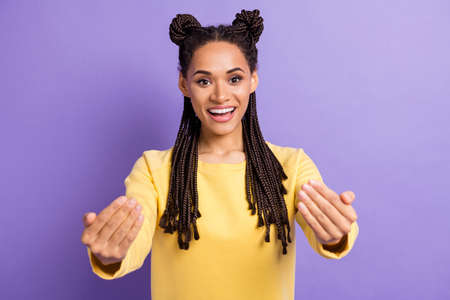 Photo of optimistic nice lady want hug wear yellow sweater isolated on lilac color background