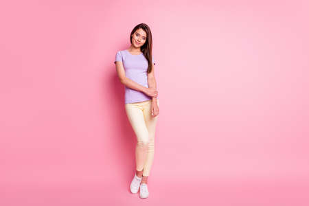 Full length photo of positive friendly lady wear casual outfit folded hands isolated on pink color background