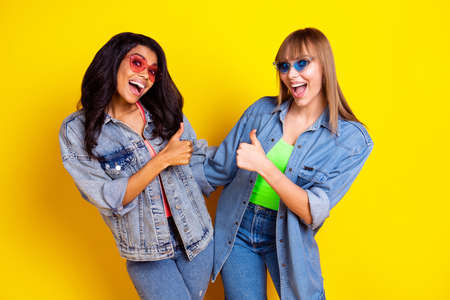 Portrait of two amazed astonished girls open mouth thumb up look camera isolated on yellow color background