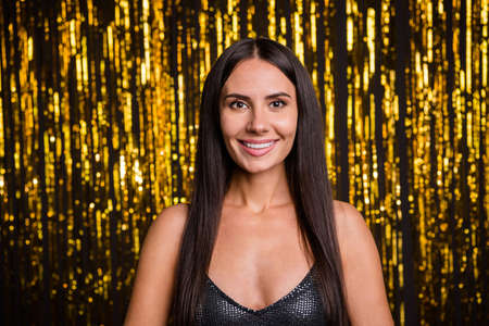 Photo of young happy positive good mood lovely beautiful gorgeous woman at party isolated on glittered background