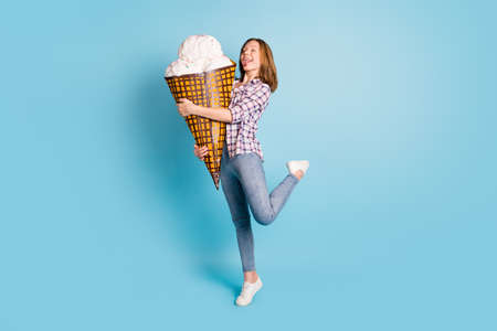 Full size of young funky funny girl hug embrace huge ice cream show tongue lick