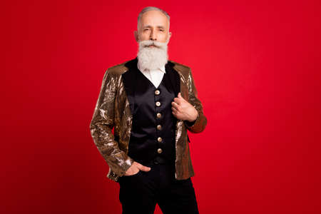Photo of aged man happy positive smile confident wear costume event party isolated over red color background