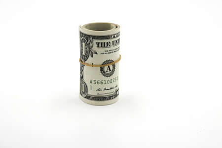 Money. Roll of dollars isolated on white background. 写真素材