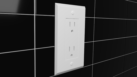 electric outlet on reflective black tiled wall 3d illustration Reklamní fotografie - 117077600