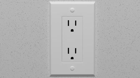 electric outlet on shiny white wall 3d illustration
