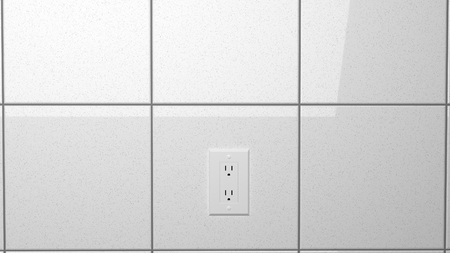 electric outlet on reflective tiled wall 3d illustration