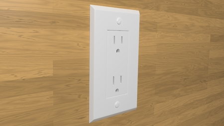 electric outlet on wood wall 3d illustration