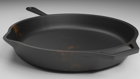 cast iron pan with a few rust spots isolated on white 3d illustration