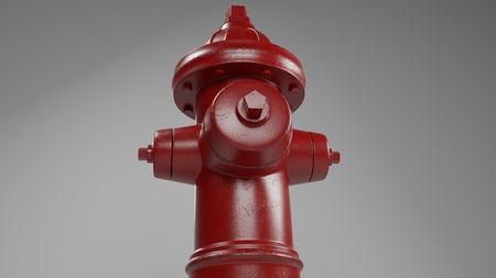 red fire hydrant isolated on white with a few worn spots and rust 3d illustration