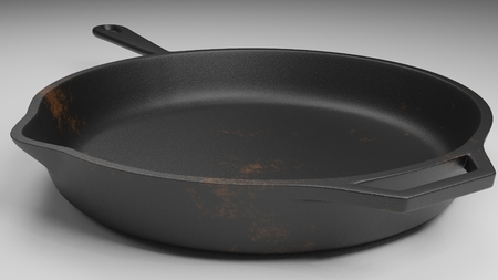 skillet with a few rust spots isolated on white 3d illustration
