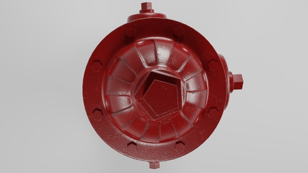 top of red fire hydrant isolated on white with a few worn spots and rust 3d illustration Reklamní fotografie
