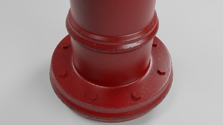 base of red fire hydrant isolated on white with a few worn spots and rust 3d illustration