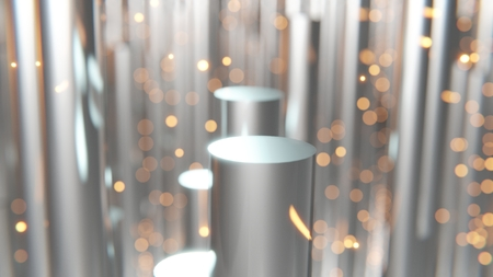 3d rendering of abstract dark shiny metallic cylinders with floating orange embers in background and bokeh