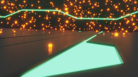 Sci-fi 3d rendering of single green glowing particle on floor with futuristic glowing designs and green glowing particles in background