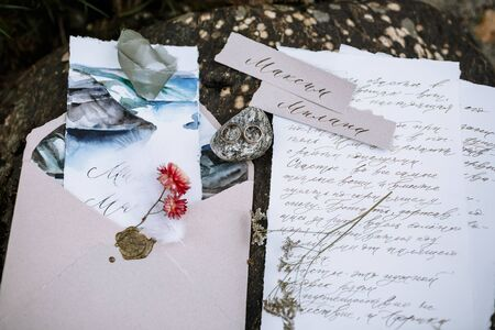 Wedding letters lying on the ground