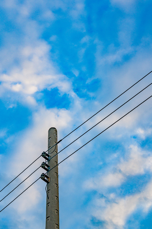 telephone poles: Telephone poles with wires and sky
