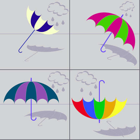 circumstances: set of four umbrellas with shadows in varied circumstances