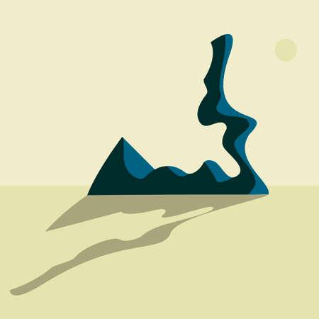 dry desert landscape with rocks in the distance Illustration