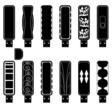 12 flash drives silhouette set Illustration