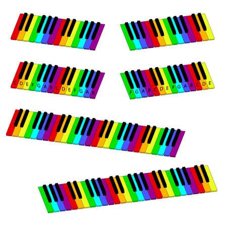 fingering: isometric rainbow-coloredl piano keyboard set