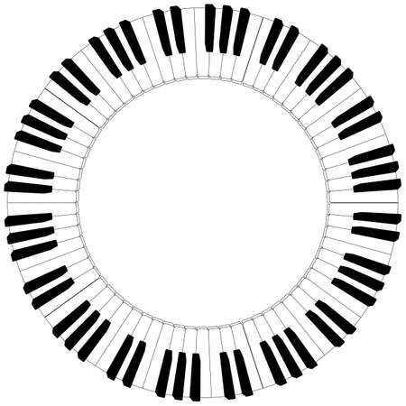 piano closeup: round piano keyboard frame in black and white Illustration