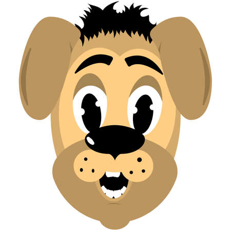 cartoon style broun dog head Vector
