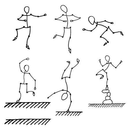 human figures: six stick human figures set