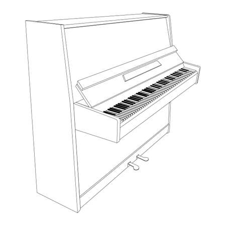 fingerboard: open piano contour with keyboard, pedals and desk