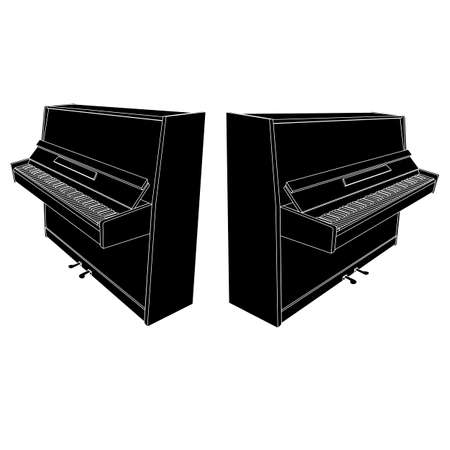 pedals: open piano silhouette with keyboard, pedals and desk Illustration