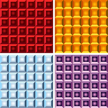 color separation: square shaped geometrical seampless patterns with gradients