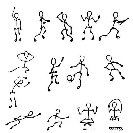 stick human figures action set Illustration