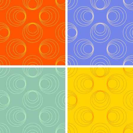 seamless colored round figures pattern set Vector