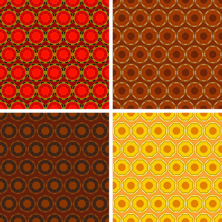 octagon: seamless colored octagon pattern set