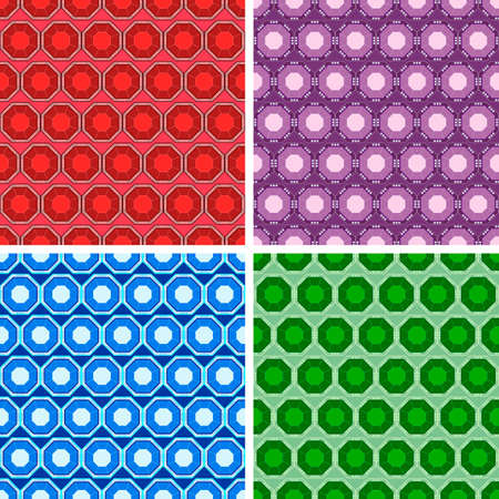 seamless colored octagon pattern set Vector