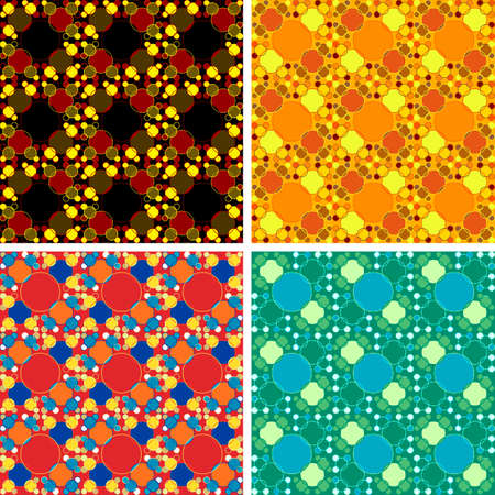 seamless colored abstract art pattern set Vector