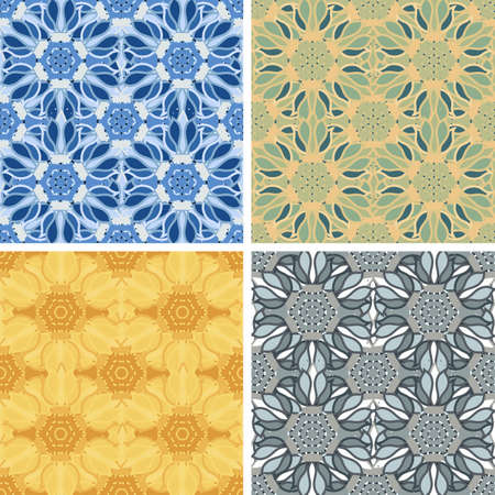 colored abstract art pattern set