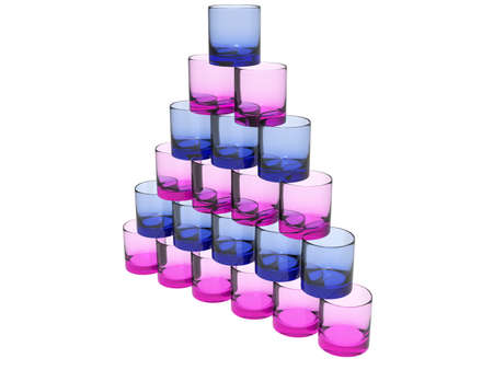 glases: isloated pyramide of glases in pink and blue