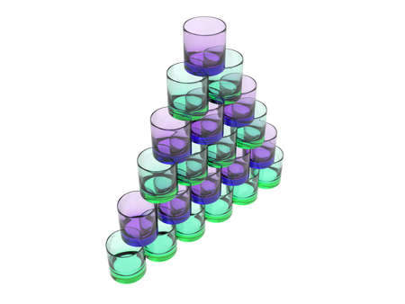 glases: isloated pyramide of glases in green and blue Stock Photo