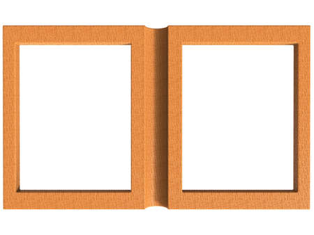 compartment: isolated folding photoframe book render in wood tones Stock Photo