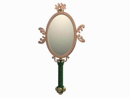 hand mirror: isolated old hand mirror design on white background Stock Photo