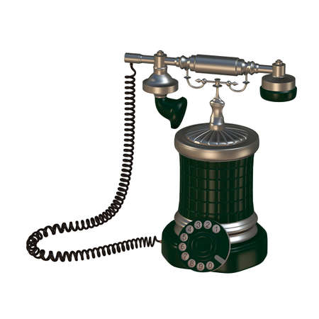 retro style dial vintage phone 3d illustration Stock Photo