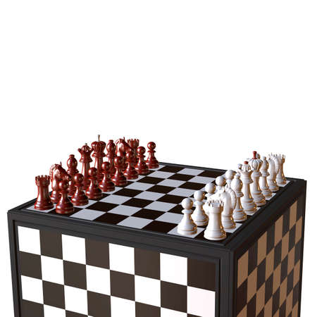 enemies: 3d illustration of chess  situation with board